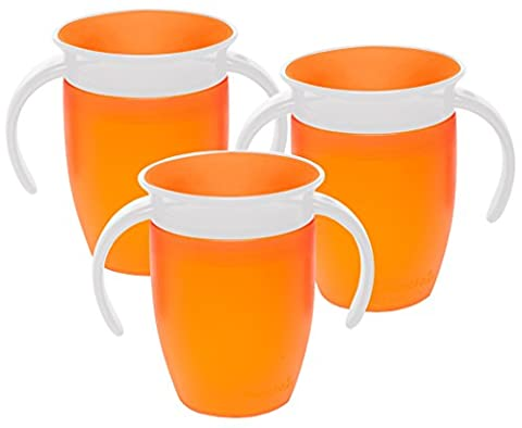Munchkin Miracle 360 Degree 7 Ounce Spoutless Trainer Cup, 3 Pack, Orange/Orange/Orange