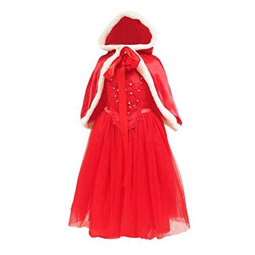 (ZHRUI Baby Outfit, Mädchen Kinder Weihnachten Kleidung, Elegante Spitze Patchwork Solide Tüll Tutu Kleid Mode Blume Perle Kleid Prinzessin Abend Party Cosplay Kleid Sets Kostüm)