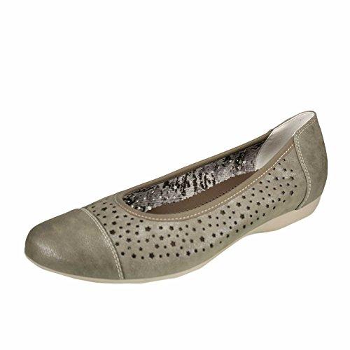 JENNY Damen Ballerina 22-53383-06 grigio Grigio (Mittelgrau)