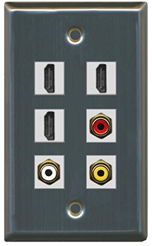RiteAV-3HDMI 1Port RCA Rot 1Port RCA Weiß 1Port RCA Gelb Wall Plate Stainless Steel/Gray -