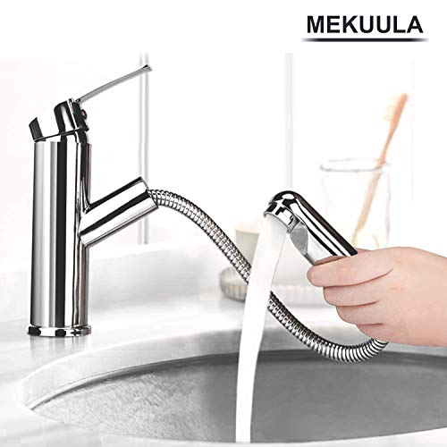 Wasserhahn MEKUULA Küche Armatur Spültischarmatur mit Herausziehbarer Schlauchbrause Chrom Waschtischarmatur mit Dual-Spülbrause fürs Waschbecken-Armatur/BadarmaturKaltes und Heißes Wasser Vorhanden