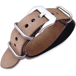 MiLTAT 22mm Nubuck Leather Grezzo Zulu watch strap Brown Thick armband - Blue Hand Stitch?