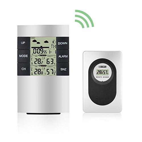 Elinker Thermo-hygromètre numérique sans fil étanche Intérieur Extérieur Thermomètre humidité Affichage de la température–Station météo Horloge avec par météo, réveil, min/max Records, calendrier, etc. pour Home Office Confort écran LCD