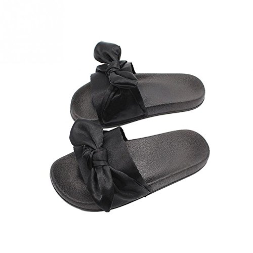 LEPAKSHI Black, 9 : 2017 Spring Summer Shoes Woman Slip On Comfortable Slipper Silk Bowknot Low Heel Sandals Casual Slides Flip Flops Brand sandalia