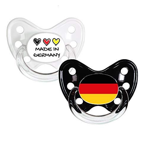 Dentistar® Silikon Schnuller 2er Set inkl. 2 Schutzkappen - Nuckel Größe 2, 6-14 Monate - Fahnen Fan Kollektion - Made in Germany & Flagge