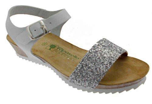 sandalo donna bianco ghiaccio aperto perline zeppa comodo art 19616 39 bianco