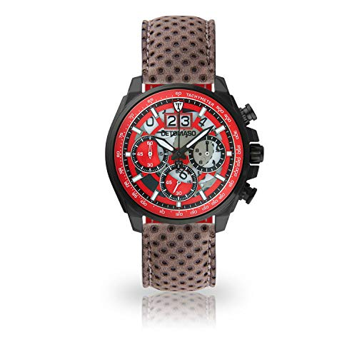 DETOMASO LIVELLO Men's Wristwatch Chronograph Analogue Quartz Dark Grey Leather Strap red dial DT2060-C-846