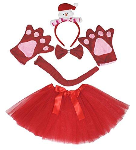Schneemann Tutu Kostüm - Petitebelle 3D-Stirnband Bowtie Schwanz Handschuhe Tutu 5pc Mädchen-Kostüm Einheitsgröße 3D-Schneemann