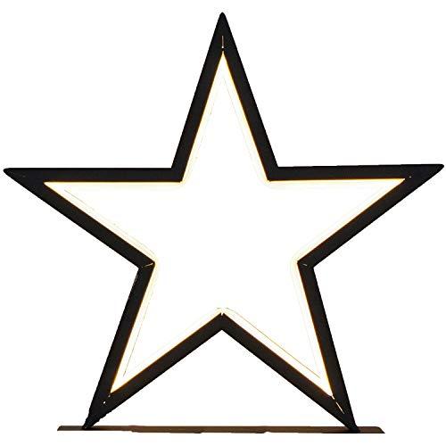 Standleuchte Stern   schwarz matt   mit LED-Band   warmweiß   Standfuß   Kabel 5 m   Metall   Weihnachtsstern   Lampe   Stern   Dekostern   Fensterdeko   Standleuchte   Beleuchtung