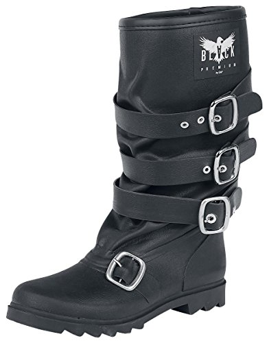 Black Premium by EMP Buckle Rubber Boot Stivali pioggia nero EU37