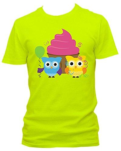 NEON Herren T-Shirt Party Eulen mit Cupcake FUN_neongelb_XL