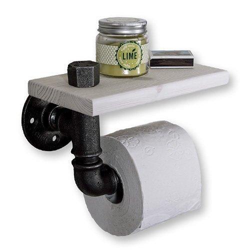 Toilettenpapierhalter im Industriedesign, Bad WC Papierhalter mit Ablage im Vintage Look, Shabby Chic Industrie Design