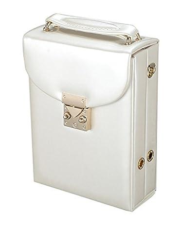 iSuperb® Bijoux Boîte Organisateur Cas PU cuir Display Storage Case Bag Voyage pour les anneaux Boucles d'oreilles Bangle collier avec sangle amovible pour les filles 18.5x13x5.5cm (Blanc)