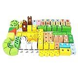 Tierbausteine 80 Tiere Einfügen Block Spielzeug Große Partikel Holz Montage Puzzle Kinderspielzeug
