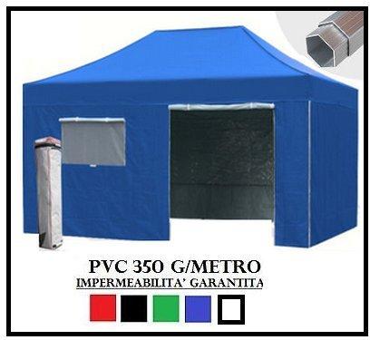 Gazebo pieghevole blu alluminio esagonale 40mm 3x4.5 + 4 teli laterali pvc 350 g metro