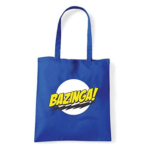 Art T-shirt, Borsa Shoulder Bazinga, Shopper, Mare Blu