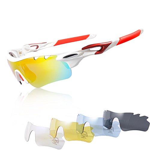 Gafas Ciclismo Polarizadas con 5 Lentes Intercambiables Gafas de Sol Deportivas Antivaho Antireflejo Anti Viento y UV Adaptadas a Deporte Carrera Running Bicicleta MTB para Hombre y Mujer (Blanco rojo)