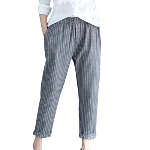 Lazzboy Womens Hight Waist Striped Lattice Paperbag Casual Harem Pants Trousers
