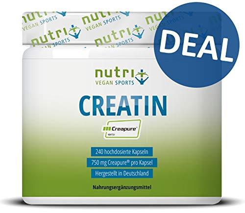 CREAPURE ® 240 Kapseln - CREATIN-MONOHYDRAT für mehr Kraft - 99,99{ac21068396895e751a4d48b52ad0aa90a8e996a351f0b4bb326f3c0cddddd893} rein - höchste Dosierung - Kreatin Caps - Nutri-Plus Vegan Sports - Premiumqualität aus Deutschland