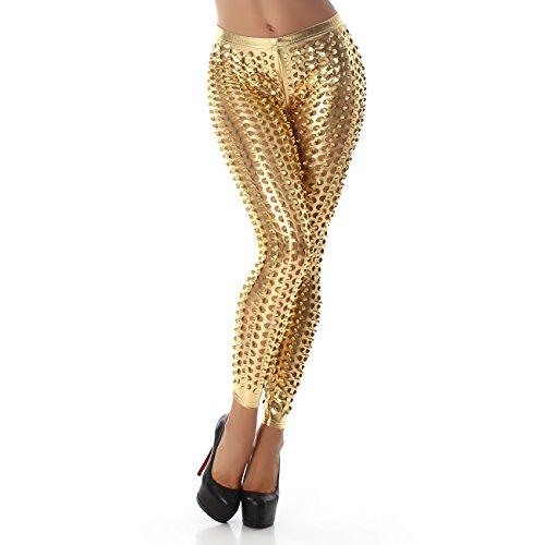 Bello Glanz (Berry Belle Leggings Damen SPACE Glamour Glanz Stretch mit Löcher in vielen Farben S-L (Medium, Gold))