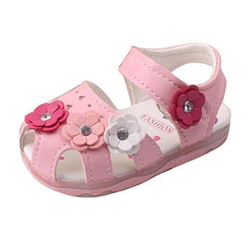 IMJONO Chaussures Fille, Chaussures de Bébé Bambin Nouvelles Fleurs Filles Sandales Allumées Soft-Soled Princesse (1-2 Ans, Rose)