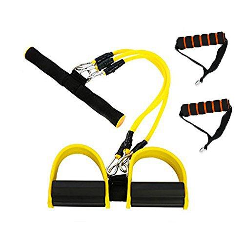 grofitness Pedal Widerstand Bands Bauch Trainer Body Trimmer Brust Expander Sit-Up Ziehen Seil, gelb