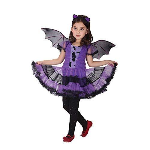 JT-Amigo Costume da Vampira Pipistrello, Bambina e Ragazza, Travestimenti Halloween Carnevale, 6-7 Anni