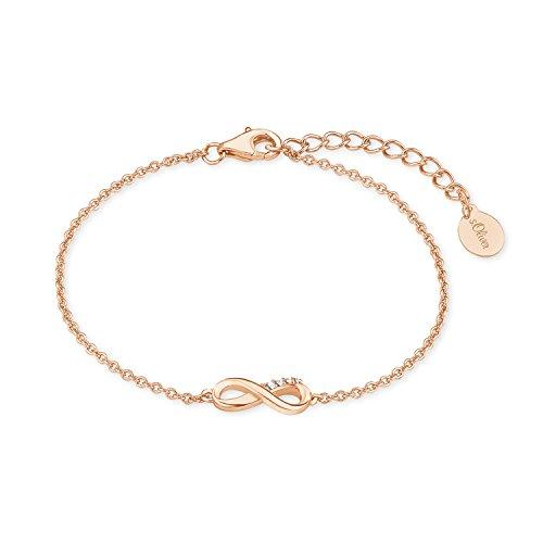 s.Oliver Damen-Armband So Pure 16+3 cm mit Infinity Anhänger 925 Sterling Silber rosévergoldet Zirkonia weiß