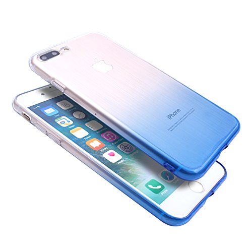 iProtect TPU Schutzhülle Apple iPhone 7 Plus, iPhone 8 Plus Soft Case in matt Rosa Hologram Blau