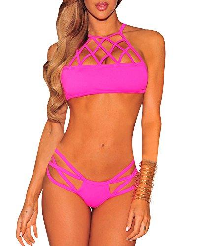 Damen Bademode Hohl Bandage Badeanzug Gepolstert Bikini Sets Schwimmanzug Pink