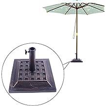 Base Sombrilla con Soporte Cuadrado Elegante para Parasol Φ3,8cm Φ4,8cm Jardín o Patio Color Bronce