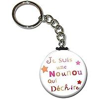 Je suis une NOUNOU qui déchire Porte clés chaînette 38mm ( Idée Cadeau Nounou Nourrice Fête des Nounous Noël Anniversaire Scolaire )