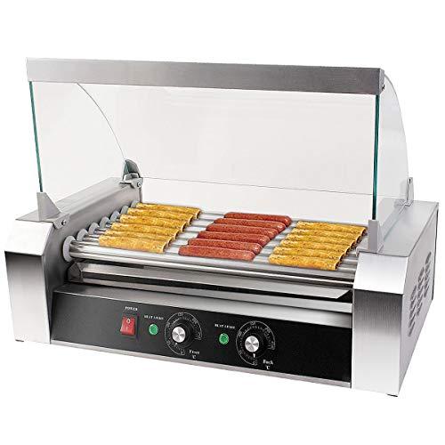 COSTWAY Hot Dog Grill Roller Wurstgrill Würstchengrill Wurstwärmer Hot Dog Maschine Hot Dog Maker 7 Rollen Edelstahl 1400 W