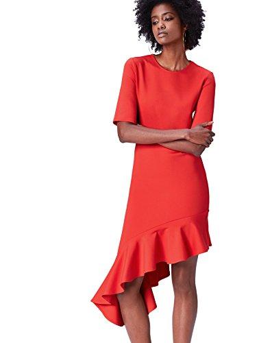 FIND Damen Kleid mit Asymmetrischem Rüschensaum Rot, 34 (Herstellergröße: X-Small)