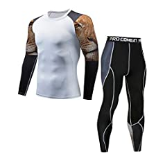 Yuutimko Men's Compression Long Sleeve Shirt+Tights Legging Suit,Casual Fitness T-Shirt Quick Drying Elastic Tops Pants Sets Sports Functional Thermal Underwear Breathable Active