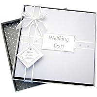 White Cotton Cards - Álbum de fotos de boda (tamaño mediano), diseño de perlas