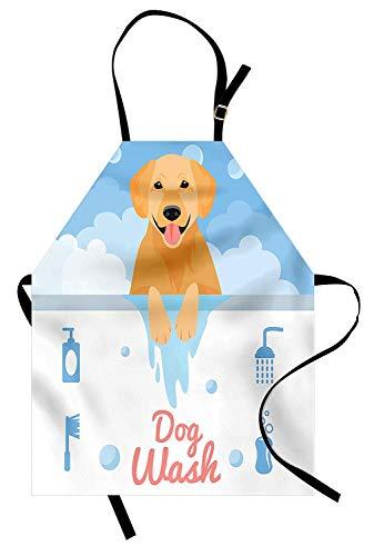 Golden Retriever Schürze Hund waschen in der Badewanne Cartoon Schaum und Seife Hygiene Unisex Küchen-Lätzchen Schürze mit verstellbarem Hals zum Kochen Backen Blassblau Hellorange Koralle - Waschen Schaum Badewanne