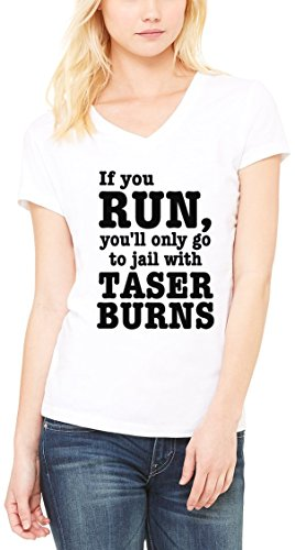 Jail With Taser Burns Women's V-Neck T-shirt Blanc
