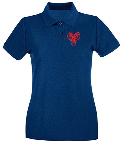 T-Shirtshock - Polo pour femme FUN1278 dual dragon car diecut decal 92015 Bleu Navy