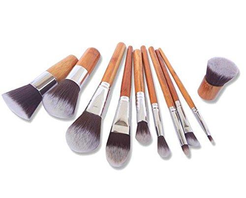 LButy Pinselsets 11 Bambus Griff Make-up Pinsel Set Bambus Griff Make-up Tools Spot Großhandel mit Leinenbeutel (Bambus Großhandel)