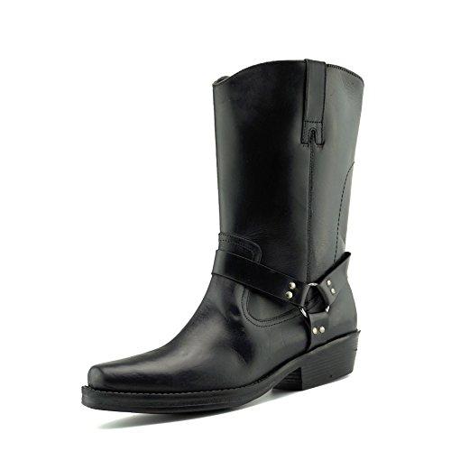 CityStyle4You Herren Cowboy-Leder-Stiefel Biker Westernstiefel, Schwarz - Black Long - Größe: ()