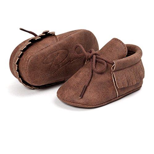 Baby Schuhe Auxma Baby Soft Sohle Anti-Rutsch Quasten Prewalker Schuhe Erste Walking Schuhe Für 3-6 6-12 12-18 Monat (3-6 M, Dunkelbraun) Dunkelbraun