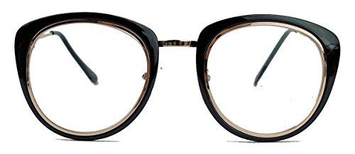 Retro FashionBrille für Damen Nerdbrille mit dickem Rahmen Klarglas clear lens Streberbrille N52 (Schwarz / Gold) (Retro Outfits 60er 70er Jahre)