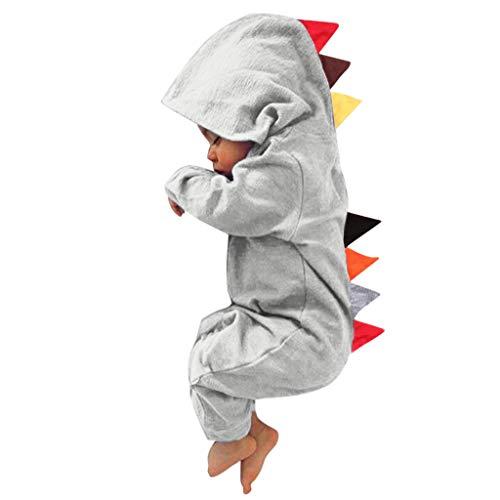 Livoral Babyoverall, Patchworkoverall im Dinosaurier-Stil für Jungen und Mädchen(Grau,18-24 Monate)
