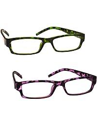 La Compañía Gafas De Lectura Verde Y Púrpura De La Concha Lectores Valor Pack 2 Mujeres