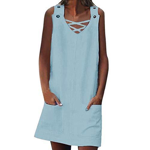 HULKY lose Sommer-Art-Frauen-T-Shirt Feminino-Kleid-Baumwollbeiläufiges Normallack-großes Größen-Kleid ...(Hellblau 1,L3) (Frauen Trikot Kleid Form)