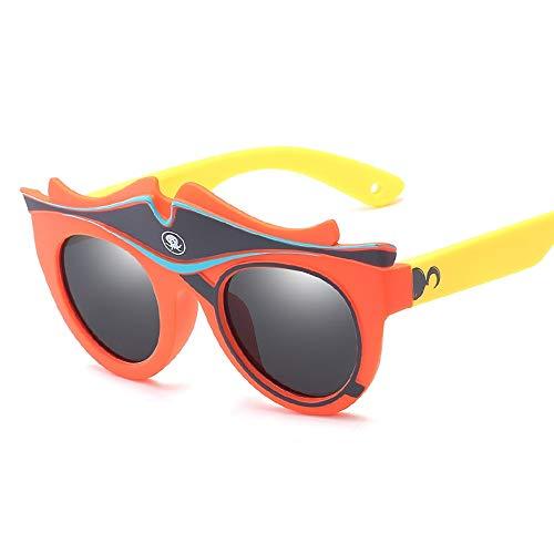 Easy Go Shopping Karikatur-Baby-dekorative Silikon-Sonnenschutz-Sonnenbrille-Kinder polarisierte Sonnenbrille Sonnenbrillen und Flacher Spiegel (Color : Orange, Size : Kostenlos)