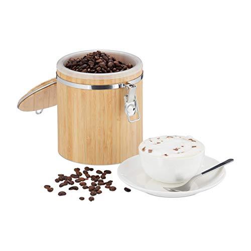 Relaxdays Kaffeedose Bambus, Vorratsbehälter mit Deckel, Innenbehälter, Bügelverschluss, aromadicht, HxD: 15x14cm, Natur
