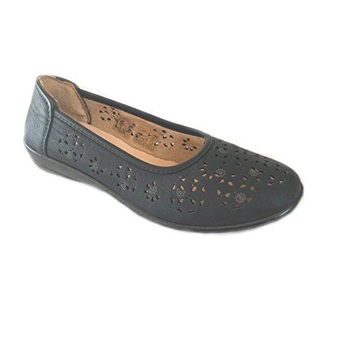 Scandi- Damen Schuh Slipper, Ballerinas Schuhe-Schwarz Größe 36-41 Neu Schwarz