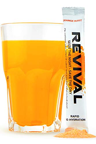 REVIVAL After Party Drink, Flüssigkeitszufuhr mit Vitaminen und Elektrolyte - Pulver/Tabletten zur - Orange 6 Sticks